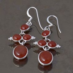 RED ONYX 925 STERLING SILVER LADIS EARRING 4.68g DJER3309 #Handmade #EARRING