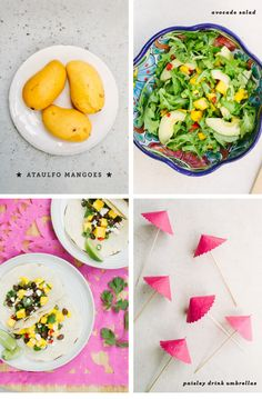 Cinco de Mango - Mango recipes! mango salsa, mango margarita spritzer, mango black bean tacos, and a mango avocado salad.