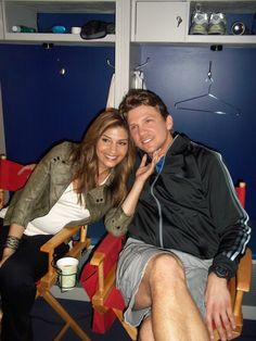 Callie Thorne and Marc Blucas on the Necessary Roughness set. Image via @MarcBlucas.