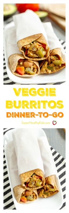Veggie Burritos: Dinner-To-Go. Burrito recipe for a dinner idea when you are on the go! Super Healthy Kids, Healthy Toddler Meals, Healthy Meals For Two, Kids Meals, Healthy Food, Healthy Eating, Allergy Free Recipes, Vegetarian Recipes, Egg Recipes For Kids
