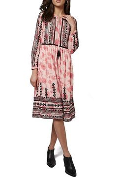 Topshop Embroidered Print Midi Dress available at #Nordstrom