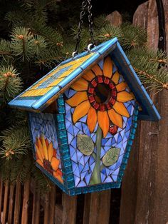 Birdhouse Stained Glass Mosaic Goldfinch & Sunflowers