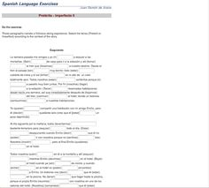 Ejercicio - 1 Preterite vs. Imperfect 6th - 12th Grade Worksheet ...
