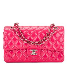 Chanel Classic Quilted Patent Large Double Flap Bag in Fuchsia Pink #chanel