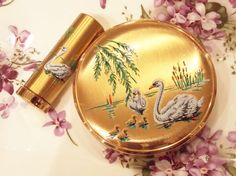 Powder Compact Set, Powder Compact, Melissa Powder Compact, Swan Compact, Lipstick Case, Lipstick Holder, Melissa Set, Swans, Birds - 1950s by CupfulofTrinkets, £58