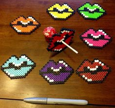 Colorful Perler bead Lollipop/sucker candy lips