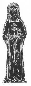 Elizabeth Broughton, spinster,   d. 1524. Brass rubbing.  Chenies, Buckinghamshire