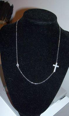 Sterling Silver sideways cross necklace with Swarovski by Jwhiz, $25.00