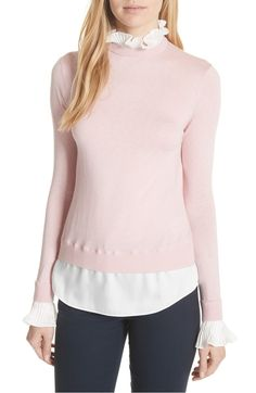 d550ddf99117 Pleated Ruffle Contrast Sweater, Main, color, Dusky Pink London Outfit, Ted  Baker