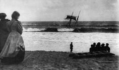 Susan Elizabeth Driven ashore at Porthminster Beach (St Ives), October 17th, 1907. A gale blew this collier's sails out off the Mumbles. Less than three months later the Lizzie R. Wilce and the Mary Barrow also had to beach here.