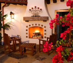 Make your outdoor fireplace perfect for entertaining and cozy nights on the patio with Mexican Tile.