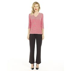 Mossee 3/4 V Neck Top: Red - $59.00 #travelclothes #summerclothes