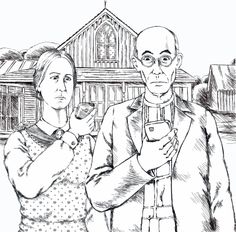 Pen & Ink American Gothic, Paintings, Ink, Drawings, Paint, Painting Art, Sketches, India Ink, Painting