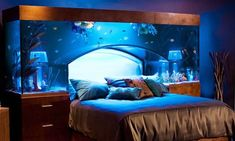 Bedroom, Blue Pillow Blanket Aquarium Bedroom Potted Plant Bed And Sheet ~ Quirky Bedroom Design Ideas for Those Who Love Peculiar Concept