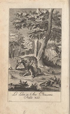 """""""The Lion and the Ass Hunting""""  (Recueil 1, Livre 2, fable 19)"""