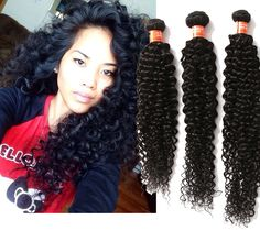 """US Human Hair Extension Curly Wave Unprocessed Human Hair 3Bundles 16""""18""""20"""" Hot #wigiss #HairExtension"""