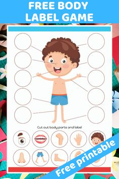 Free printable worksheet. Children cut our and label correct body parts. Great worksheet for preschool children to learn about the human body.