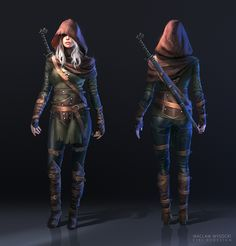 The Witcher 3: Ciri FanArt by wwysocki female assassin rouge thief sword hood hooded cloak leather armor clothes clothing fashion player character npc | Create your own roleplaying game material w/ RPG Bard: www.rpgbard.com | Writing inspiration for Dungeons and Dragons DND D&D Pathfinder PFRPG Warhammer 40k Star Wars Shadowrun Call of Cthulhu Lord of the Rings LoTR + d20 fantasy science fiction scifi horror design | Not Trusty Sword art: click artwork for source