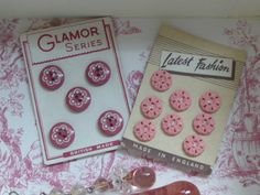 Vintage pink buttons on cards