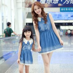"""""""Don't we look cute in our matching mother-daughter dresses? Mother Daughter Matching Outfits, Mother Daughter Fashion, Mommy And Me Outfits, Family Outfits, Mom Daughter, Girl Outfits, Daughters, Matches Fashion, Mom And Baby"""