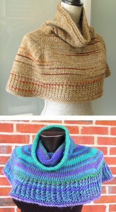 Free Knitting Pattern for Soft Shoulder Cowl - This shoulder cozy cowl is knit in stockinette from the top down and bordered at the bottom with a crossed stitch. Perfect with multi-colored yarn. 2 sizes. Designed by Kris Basta – Kriskrafter, LLC. Pictured project by ohmay and yayalovestoknit