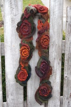 Crochet Scarf Unique Capelet shadows brown green by Degra2