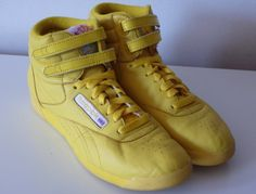 in a more banana color and with tons of friendship pins and these reebok high tops were mine in the 80s.  OMG....FRIENDSHIP PINS!!!!