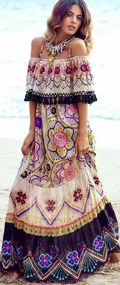 INCREDIBLY BEAUTIFUL!! - SUCH A STUNNING DRESS WHICH IS PERFECT FOR WARMER DAYS!! - LOVE THE 'OFF SHOULDER' LOOK & THE GLORIOUS FABRIC!! - GORGEOUS!!