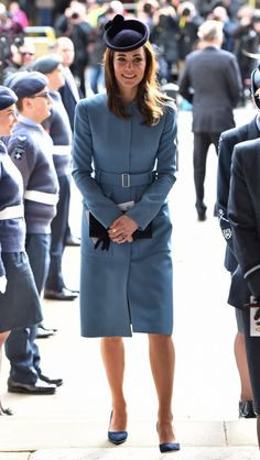Duchess Of Cambridge in Alexander McQueen Marks 75th Anniversary of RAF Air Cadets on February 7, 2016