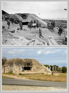 Then and now... Saint-Laurent-sur-Mer (© Normandy WW2 Then & Now)