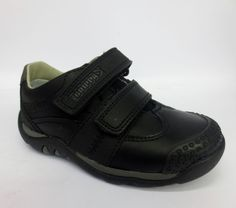 294df6f236 Clarks Boys Infants Gravel Mover Black Leather Riptape Casual School Shoes  F G