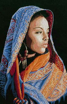 African Lady Cross Stitch Kit By Lanarte