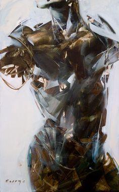 Rick Berry {contemporary figurative #expressionist art female human body woman torso grunge texture painting #noveltechnique} Chiseled!! rickberrystudio.com