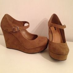 Wedge Heels Brand new!! I took pictures in them but only indoors. Soda Shoes Wedges