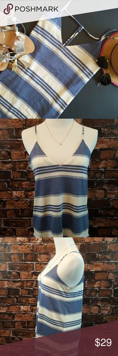 """Chaser strappy-back v-neck striped linen tank top Chaser makes the most fun tops! This spaghetti-strap tank top features a deep v-neck front and a strappy low-plunge t-back. Curved hem. Fabric is 97% linen with 3% spandex added for stretch. It is machine washable (delicate cycle).   Throw it over your bikini top; pull on your cut-offs; adjust your sunnies, and ride your bicycle off into the sunset!   Flat measurements: Pit to pit 17""""  Pit down to side hem 14"""" Bottom of v-neck down to hem 17""""…"""