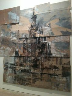 Valery Koshlyakov, High-rise on Raushskaya Embankment , saatchi gallery The best of both worlds- paint and cardboard.