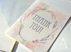 Floral Watercolor Thank you Cards PACK OF 6 by AlchemyPaperworks, $18.00