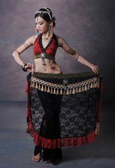 Tribal Belly Dance Costume 2 Pics Lace Bra Blouse&Hip Scarf Belt Skirt 2…