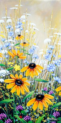 """Daisies and wildflowers painting idea. """"Lady Bug IV"""" Acrylic on Canvas, by Jordan Hicks, available at Crescent Hill Gallery in Mississauga, ON Fence Art, Painting Inspiration, Painting & Drawing, Flower Art, Watercolor Paintings, Art Projects, Canvas Art, Acrylic Canvas, Acrylics"""