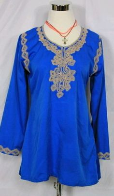 handmade sm 2/4 brilliant blue tunic w/tan embroidery #handcrafted #tunic