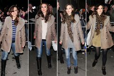 Keira Knightley, Burberry. I love shearling coats.