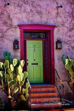 Entry wall decor Vertical wall art Mexican wall art Southwest decor Pink Southwestern decor Green Do Magenta Walls, Lime Green Walls, Lime Green Decor, Southwestern Decorating, Southwest Decor, Cool Doors, Unique Doors, Wall Colors, House Colors