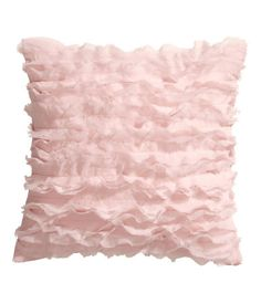 Cushion cover in satin with chiffon ruffles at front and concealed zip at lower edge. Size 16 x 16 in.