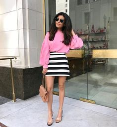 Many of you were asking about this cute sweater and striped skirt I wore yesterday. I just added them into my shop - just click the link in my bio or head over to sazan.me/shop! 💕💋#ootd #happyfriday #barbievibes