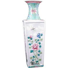Early 20th Century Chinese porcelain rectangular vase with raised four seasons floral designs $180