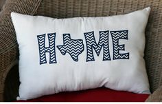 HOME TEXAS Chevron Appliqued Pillow by StatelyStore on Etsy, $30.00 except I want a tennesse one!!