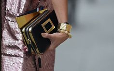 Enviable #mismatched #gold #bracelets at #PFW. Photo: The Street Muse. #LoveGold