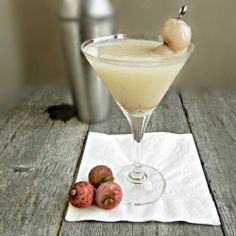 Lychee Martini by Hungry Couple  2 oz. Vodka;  2 oz. Lychee puree;  1/2 oz. Lime juice;  1/2 oz. Simple syrup;  1/2 oz. St. Germaine (or Triple Sec)