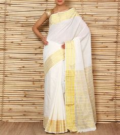 Off White & Golden Kerala Cotton Saree