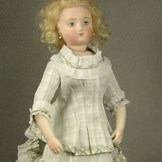 "Organdy and Silk 2pc Lady Doll Dress for 12"" inch Antique French Fashion #221 Dress made by Carol H. Straus #silkandtrim Huret by Suzanne McBrayer Bisque Beauties"